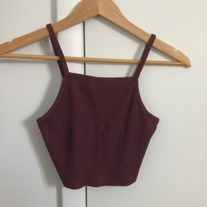 Aeropostale Maroon Ribbed Crop Tank Top Size Small